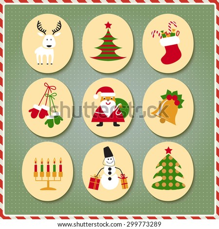 Christmas set Santa Claus, reindeer, stockings, gifts, candles, Christmas tree, snowman, candy - stock vector
