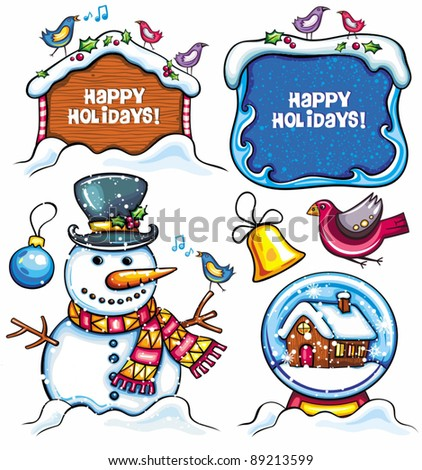 Christmas set: Snowman, Snow Ball, frame, birds, bell, xmas ornaments, holly berry. Cute Holiday banners  with space for your text. isolated on white background. - stock vector