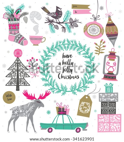 Christmas Set. Template for Greeting Scrap booking, Congratulations, Invitations. Vector illistration - stock vector