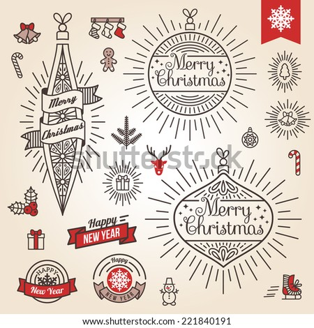 Christmas set. Vector illustration. Labels, emblems and other decorative elements in vintage style. Cute Xmas characters. Deer head. Snowman in hat. Gingerbread man.  - stock vector