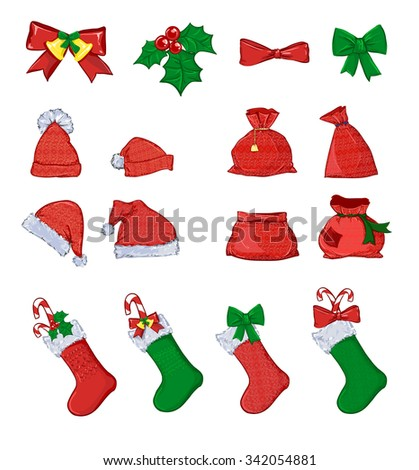 Christmas set vector illustration. Red Santa's boot. red santa hats. Santa Claus red bag