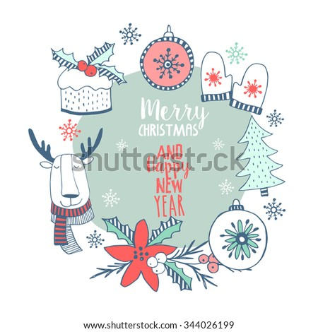 Christmas set with christmas trees, christmas tree decorations, winter floral wreath, cake chocolate and mittens in cartoon style. - stock vector