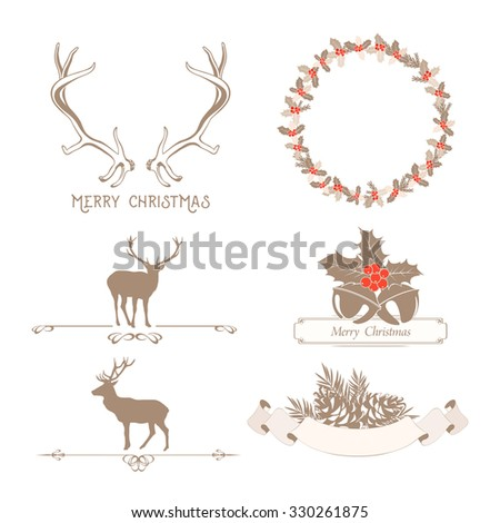 Christmas set with design elements, deer, holly wreath and ribbons - stock vector