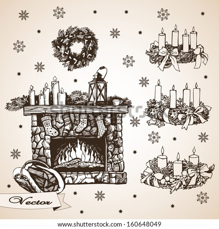 Christmas set with fireplace and wreaths - stock vector