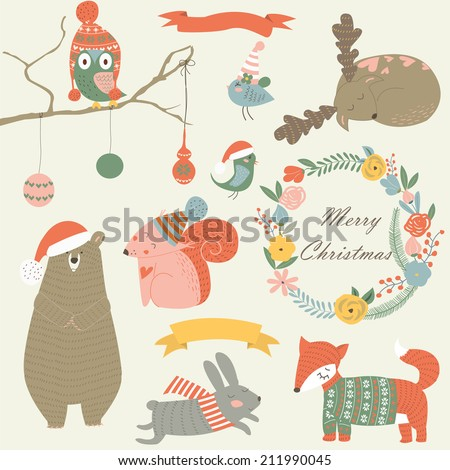 Christmas set with forest animals, floral wreath, and ribbons - stock vector