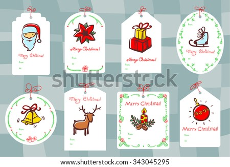 Christmas set with gift tags