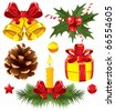 Christmas set with gold bells and other - stock vector