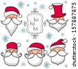Christmas set  with Santa Claus . - stock vector