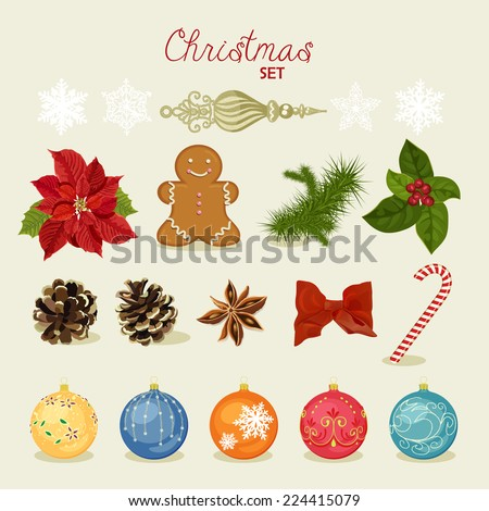 Christmas set with snowflakes, balls, candy, bow, gingerbread man, fir cones, red berries. Vector illustration. New year - stock vector