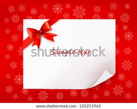 Christmas sheet of paper and red ribbon gift background. Vector illustration - stock vector