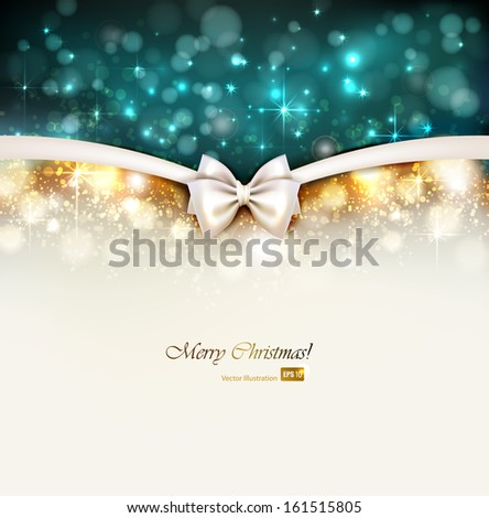 Christmas shine background with bow - stock vector