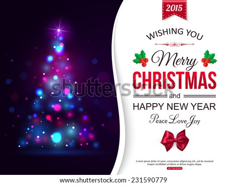 Christmas shining typographical background with xmas tree lights and place for text. Christmas card. Christmas decoration.  New year. Holiday background. Vector illustration. - stock vector