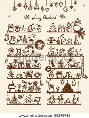 Christmas shop, sketch drawing for your design - stock vector