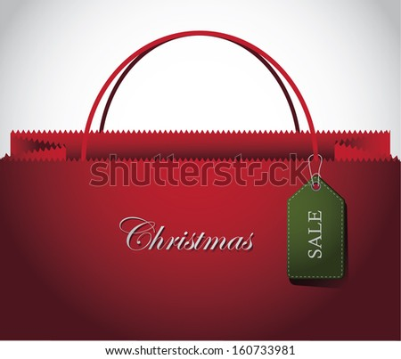 Christmas Shopping bag with Tag Background. EPS 10 vector, grouped for easy editing. No open shapes or paths. - stock vector