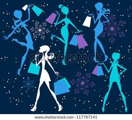Christmas Shopping Girls - stock vector