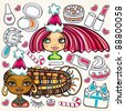Christmas shopping girls:  vector set of pretty girls with beautiful hair and lots of Christmas holiday presents for ladies - stock vector