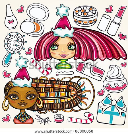 Christmas shopping girls:  vector set of pretty girls with beautiful hair and lots of Christmas holiday presents for ladies