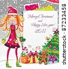 Christmas shopping theme: vector illustration of a pretty girl with Xmas bell, standing near the blank message board. lots of holiday decorations ornaments, patterns. space for your text. - stock vector