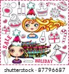 Christmas shopping theme: vector illustration of a pretty girls with  beautiful hair and lots of Christmas presents for ladies - stock vector