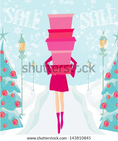 Christmas shopping - winter sale card - stock vector