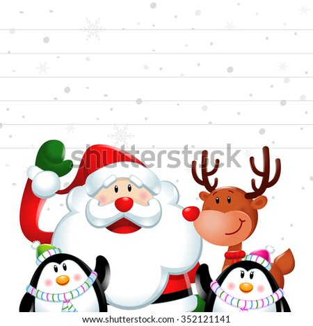 Christmas sign, Santa claus and friends in white background - stock vector