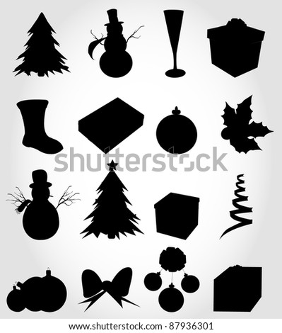 Christmas silhouette - stock vector