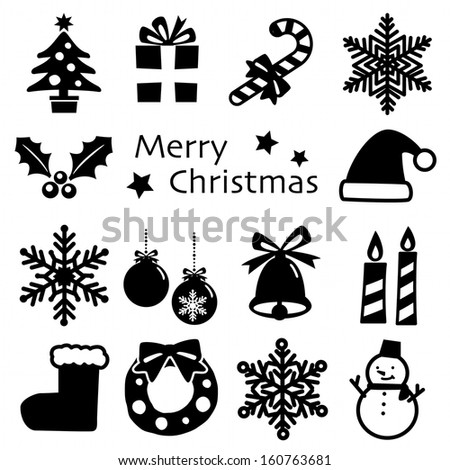 Christmas Silhouette icon set