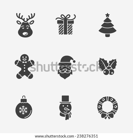 Christmas silhouette icons collection - stock vector