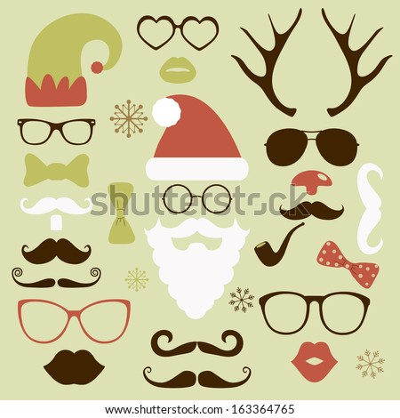 Christmas silhouette set hipster style, illustration icons - stock vector