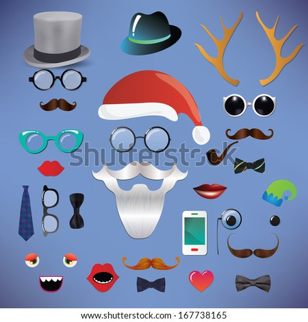 Christmas silhouette set hipster style, vector illustration icons, mustache, santa claus, white beard, santa hat - stock vector