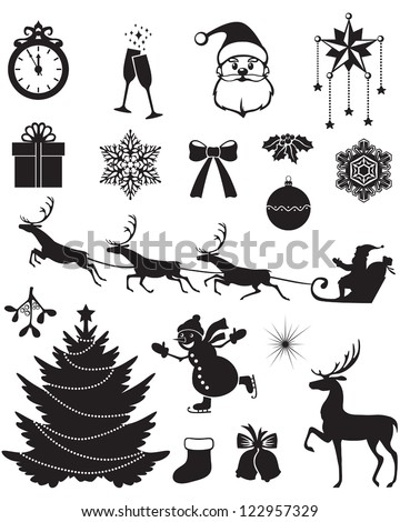 Christmas silhouettes with Santa, reindeer, fir, snowman, holly, and other - stock vector