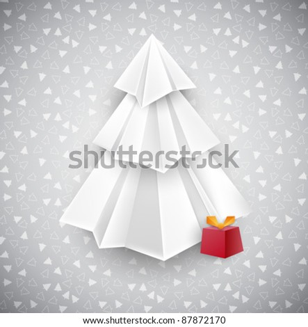 Christmas silver design with white origami Christmas tree