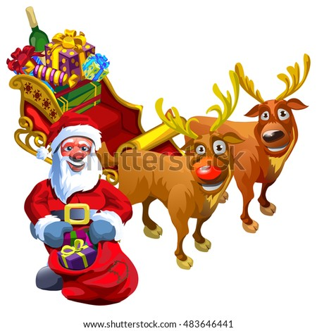 christmas sketch with santa claus and reindeer with a sleigh filled with gifts sample of - Reindeer With Santa