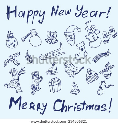 Christmas sketch. Writing and Printing. Congratulations with New year and Christmas in Typographic style. Christmas objects for your design. Can be used to design greeting cards - stock vector