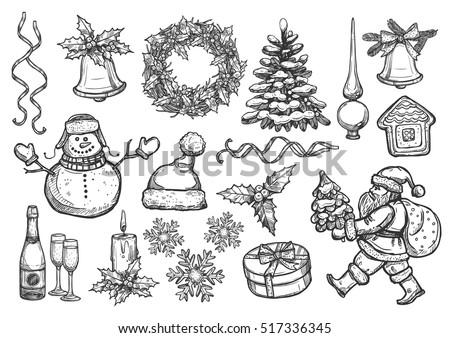 Christmas Object Set Hand Drawn Vector Stock Vector ...