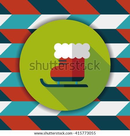 Christmas sleigh flat icon with long shadow,eps10 - stock vector