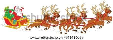 Christmas Sleigh of Santa Claus - stock vector