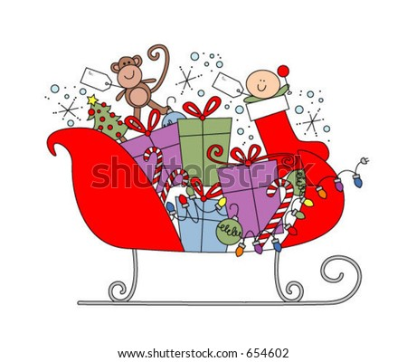 Christmas sleigh with gifts and candy