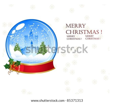 Christmas snow glob background - stock vector