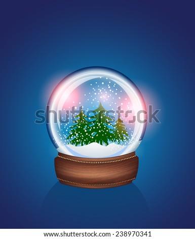 Christmas Snow globe - stock vector