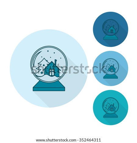 Christmas Snow Globe. Monochrome color. Long Shadow. Single Flat Icon . Vector