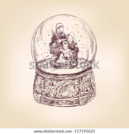 christmas snow globe vintage hand drawn vector illustration - stock vector