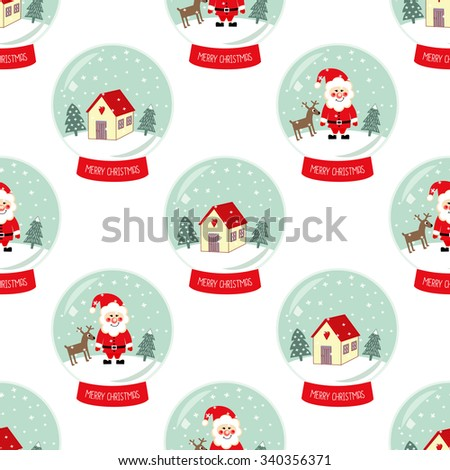 Christmas Snow globe with falling snow, cute house, Santa Claus, Xmas tree and deer  seamless pattern. Cute Merry Christmas background. Glass ball gift design illustration. - stock vector