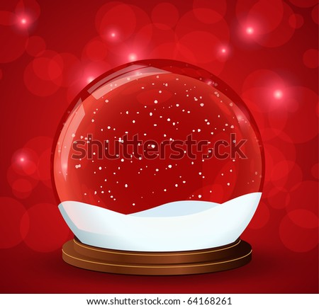 christmas snow globe with glittering lights around - stock vector