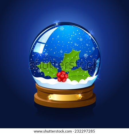 Christmas snow globe with holly berry on blue starry background, illustration. - stock vector