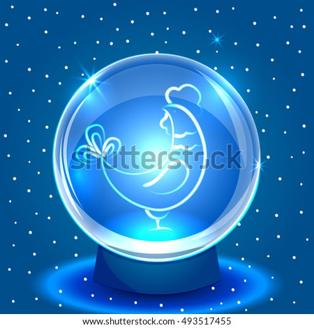 Christmas snow globe with rooster. Vector blue shiny background. New Year vector card. 2017 year of fiery rooster.