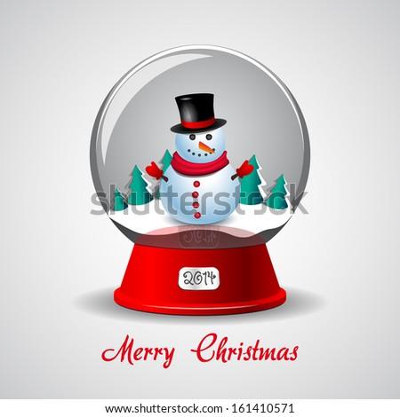 Christmas Snow Globe With Snowman - stock vector