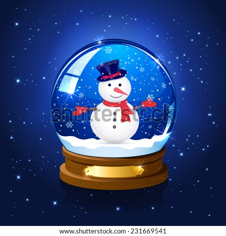 Christmas snow globe with snowman on blue starry background, illustration. - stock vector