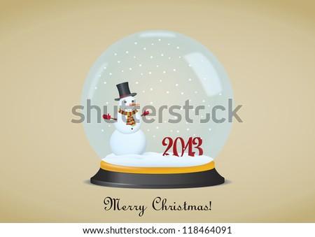 Christmas Snow Globe With Snowman. Vector illustration - stock vector