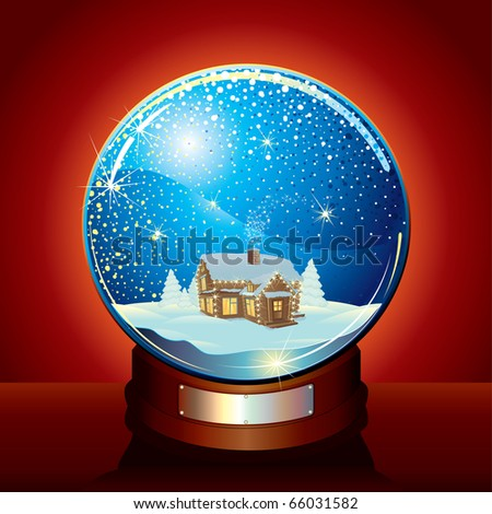 Christmas Snow globe with tranquil winter composition and falling snow - stock vector